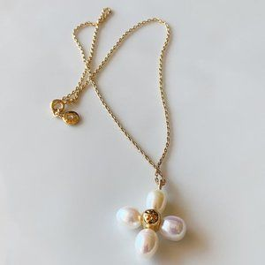 Tory Burch Baroque Pearl Flower Necklace